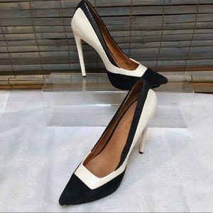 LAMB Black White Patent Leather Snakeskin Heels